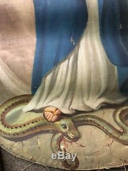 GRANDE ANCIENNE HUILE SUR TOILE RELIGIEUSE DOUBLE RELIGION MARIE 18 èm 19 èm