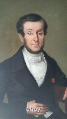 GRANDE Huile sur toile ancienne portrait de Jean François Jeanmaire 1832 XIXème