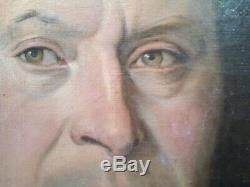 GRAND PORTRAIT ANCIEN, Huile sur toile du 19eme, 81X64,5cm