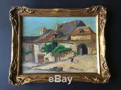 Géo Gyaniny. Huile sur carton ancienne. Najac (Aveyron)