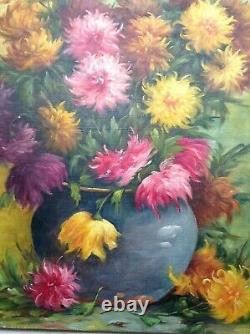 Grand Tableau Ancien Bouquet de Fleurs aux Dahlias Huile sur Toile Signé C. 1950