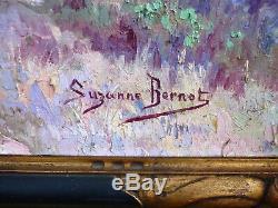 Grand Tableau Ancien Huile Sur Panneau Paysage Du Sud Signature Suzanne Brenot