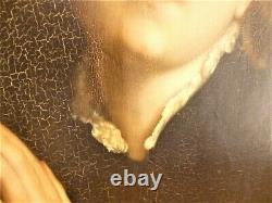 Grand Tableau ancien huile sur toile sainte marie madeleine religieux religious