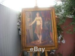 Grand tableau ancien huile sur toile jeune femme