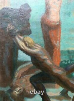 Grand tableau symboliste ancien, Huile sur toile, Scène de combat, Ecole XXe