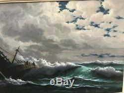 Grande Marine Ancienne Huile sur Toile Voilier 1920-1930 Signée Boulnois