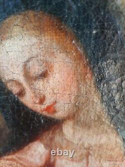 Grande peinture ancienne huile sur toile