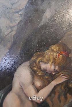 HUILE SUR PANNEAU FIN XVIIIème SIÈCLE FEMME DEVANT LA CROIX PEINTURE ANCIENNE