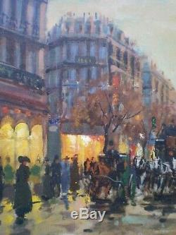 HUILE SUR TOILE PARIS 1900 MARCHE AUX FLEURS St GALIEN LALOUE PEINTURE ANCIEN