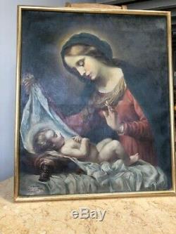 HUILE SUR TOILE TABLEAU ANCIEN RELIGIEUX LA VIERGE a l'enfant XVIIIe