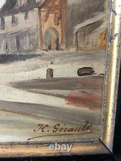 H Gérault Ancien Tableau Vue Du Port De Dinan Marine Huile Sur Carton Bretagne