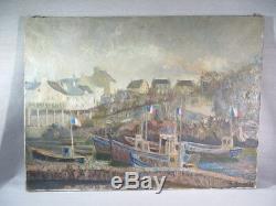 H. Kervella Ancien Tableau Huile Sur Toile Marine Port Bretagne Bateaux Peche