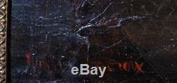 Hommes au combat signature Delacroix huile sur toile ancienne XIX