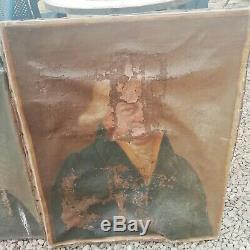 Hst 2 portrait huile sur toile à restaurer homme femme ancien