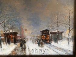 Huile Sur Panneau Ancienne Paris Champs Élysées Arc De Triomphe Impressionnisme
