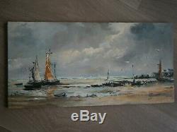Huile Sur Panneau Peinture Marine Ancien Decor Bretagne Ocean Port Peche