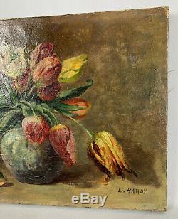 Huile Sur Toile Ancienne De 1944 De L. Hardy Bouquet Fleurs Aux Tulipes