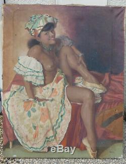 Huile Sur Toile Ancienne Nu Feminin Grand 92 X 73 CM Vintage