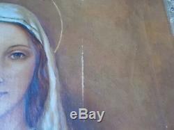 Huile sur Toile Ancienne Vierge a l' Enfant