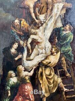 Huile sur carton La Descente De Croix Tableau Ancien