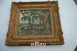 Huile sur carton ancienne rené seyssaud(1867-1952)