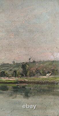 Huile sur panneau bois ancien bord de rivière signée Felix Perret, dim38X19 cm