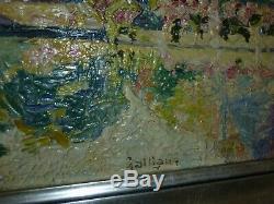 Huile sur panneau bord de Marne guingettes Bicherel tableau ancien peinture