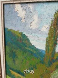 Huile sur panneau peinture ancienne paysage vaches signé superbe cadre ancien
