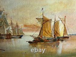 Huile sur panneau, scène de marine ancienne accompagnée de son cadre doré