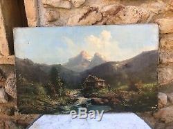 Huile sur toile & FRANCE & Paysage de Montagne & Rivière & Chalet & Ancien