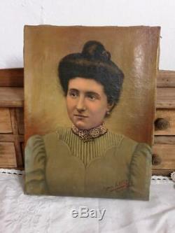 Huile sur toile Portrait ancien