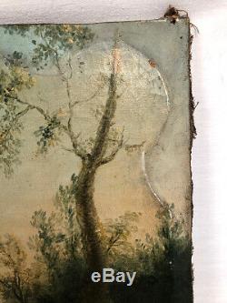 Huile sur toile XVIIIe, ancien haut de porte