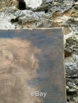 Huile sur toile ancienne Scène Champêtre