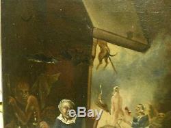 Huile sur toile ancienne sur la sorcellerie