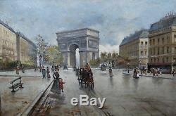 Huile sur toile ancienne vue de la place de létoile arc de triomphe Paris 1900
