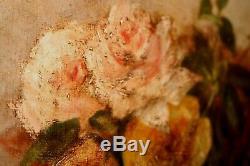 Huile sur toile huile ancienne nature morte roses, fleurs en corbeille