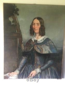 Huile sur toile peinture ancienne dame noble XVIII 81.5 cm100 cm HST 18ème