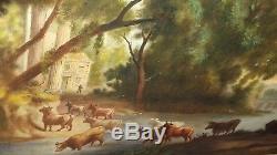 Huile sur toile tableau peinture scène pastorale très ancien fin 18ème