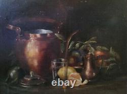 J. Imbault huile sur toile nature morte fruit citron XIXème tableau ancien signé