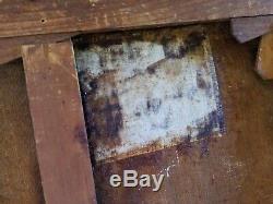 Jean JOVENEAU XIX°-XX°s Huile sur toile Péniche BIEN-HOA Ancien Old Oil 55x38