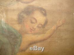 Jolie ancienne huile sur toile, 2 faces, religieux, à restaurer