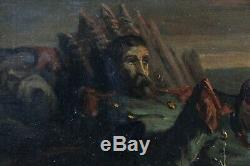 La Mort du soldat ancienne huile sur toile Empire Napoléon numéro de collection