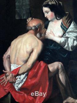 La charité romaine superbe huile sur toile ancienne XIX erotique curiosa nu