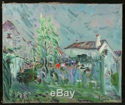 Le jardin de Verneuil Ancienne grande huile sur toile signature signée et située