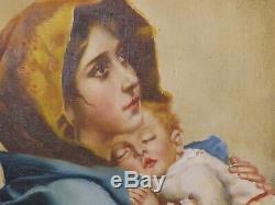 Madonna de Ferruzzi par E. Bianchini. Ancienne Huile sur toile Signée au dos
