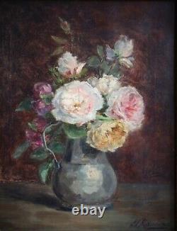 Mariette Romiée, Liège, XIX-XXe, Tableau ancien, Bouquet roses, Huile sur toile
