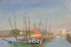 Marine Ancienne Huile sur toile signature post impressionnisme Bretagne