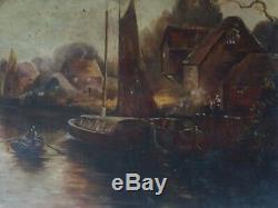 Marine Barbizon Huile Sur Toile Vers 1900 Tableau Ancien Paysage