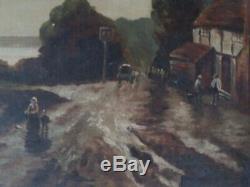 Marine Barbizon Huile Sur Toile Vers 1900 Tableau Ancien Paysage Mer