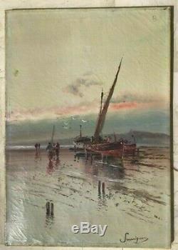 Marine Tableau Huile Sur Toile Signee Pecheurs A Pieds Tableau Ancien